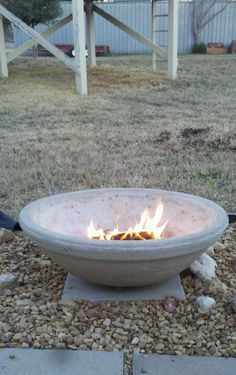 I made #firepit from an old unused garden pot with free open bag/damaged #landscape rocks from Walmart cost $12+
