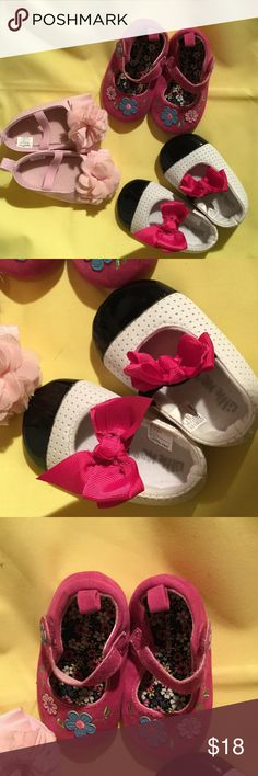 Baby girl shoe bundle about a size 2 or newborn Baby girl. Show bundle of size 2 or newborn . StRt baby early wearing shoes and she won't have a problem adjusting to shoes when it comes time to walk ! Hot pink, white and black. With. Hot pink bows and soft pale pink with. Chiffon flowers .  Pale pink used once and has slight blemish on back side of one various Shoes Baby & Walker