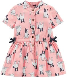 65091337f2 Carter s Baby Girl French Bulldog Henley Dress Baby Girl Dresses