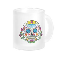 Colored Flowers Mexican Tattoo Sugar Skull Frosted Glass Mug