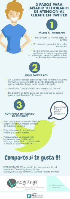 Hola: Una infografía con3 Pasos para añadir tu horario de atención al cliente en Twitter. Vía Un saludo