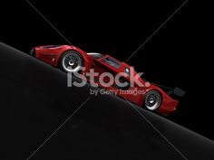 Red sport car on black background Royalty Free Stock Photo