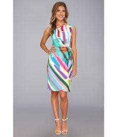 Ivy & Blu Maggy Boutique Asymmetrical Neckline w/ Lace Dress Citron Multi <3