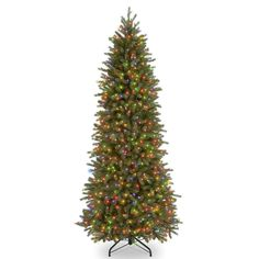 National Tree Company 6.5-ft. Multicolored Pre-Lit Jersey Fraser Fir Pencil Slim Artificial Christmas Tree, Green