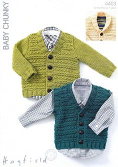 Textured Cardigan and a Waistcoat in Hayfield Baby Chunky - Discover more Patterns by Hayfield at LoveKnitting. The world's largest range of knitting supplies - we stock patterns, yarn, needles and books from all of your favourite brands. Baby Boy Knitting Patterns, Knitting For Kids, Baby Patterns, Knit Patterns, Baby Sweater Patterns, V Neck Cardigan, Baby Cardigan, Boys Waistcoat, Pull Bebe