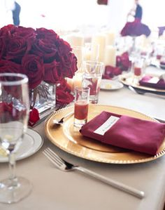 beautiful red and gold place setting