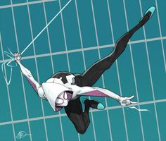 Spider-Gwen. This awesome fan art by Max Dunbar features inks by Vitali Iakovlev and colors by Sean Ellery.