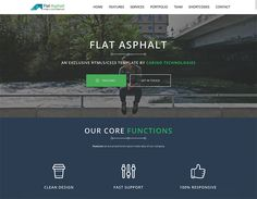 Flat Asphalt - One pager Prallax HTML 5 Template Flat Asphalt is a Flat modern and stylish parallax HTML Template. It's fully responsive and. Bootstrap Template, Html Templates, Html Css, Ui Web, First Page, Clean Design, Website Template, Web Design, Free