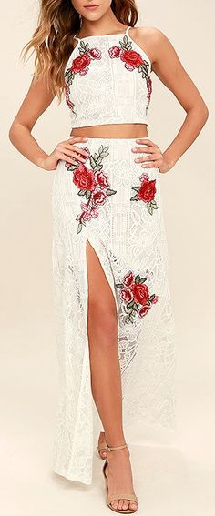 The Take a Vow Ivory Lace Two-Piece Maxi Dress is a promising pick for any engagement! Floral embroidery decorates a lace crop top and matching maxi skirt. Cute Dresses, Beautiful Dresses, Prom Dresses, Formal Dresses, Evening Dresses, Cute Fashion, Boho Fashion, Sexy Outfits, Cool Outfits