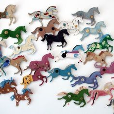 Ann Wood's fabulous cardboard horses- some of the 100- what a fabulous quirky wall display!