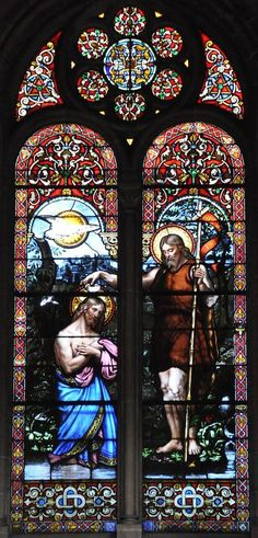 Nicolas Lorin, Baptism of Christ, c. Saint-Anne Church in Amiens. Saint Anne, Baptism Of Christ, Architectural Antiques, Stained Glass Windows, 19th Century, Cathedral, Old Things, French, Architecture