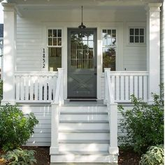 Front porch with wood steps