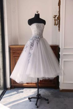 Gray sweetheart neck tulle short prom dress, gray tulle homecoming dress