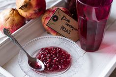 Pomegranate spoon sweet by Greek chef Akis Petretzikis. A lovely, aromatic, jewel colored spoon sweet that is perfect to serve with yogurt after a rich meal! Cooking Spoon, Jewel Colors, Sweet Life, Pomegranate, Yogurt, Cravings, Cake Recipes, Raspberry, Cooking Recipes