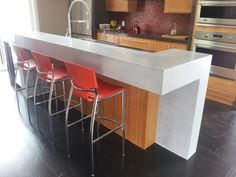 """Concrete counter-top designs have become the catalyst of many a kitchen makeovers, becoming a """"household"""" word in the design circles Kitchen Gallery, Concrete Design, Fireplace Surrounds, Concrete Countertops, Counter Tops, Kitchen Design, Household, Kitchens, Craft Ideas"""