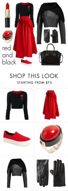 """Red and Black"" by claudiamarzo ❤ liked on Polyvore featuring County Of Milan, A.W.A.K.E., Opening Ceremony, Rick Owens and Givenchy"