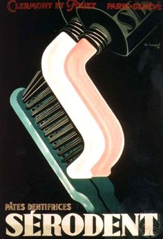 Vintage poster - Toothbrush - Toothpaste - Teeth - Dentist