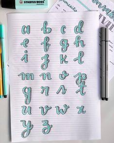 Bullet Journal Banner, Bullet Journal Writing, Bullet Journal School, Bullet Journal Ideas Pages, Bullet Journal Inspiration, Journal Fonts, Hand Lettering Tutorial, Hand Lettering Alphabet, Stabilo Boss