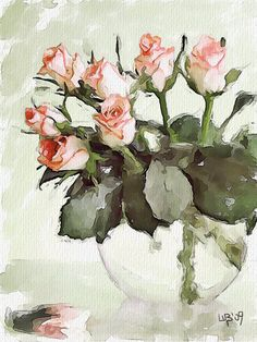Vitaly Shchukin and digital painting. Discussion on LiveInternet - Russian Service Online Diaries Colorful Art, Art Painting, Watercolor Rose, Flower Art, Floral Art, Painting, Watercolor Flowers, Art, Beautiful Art
