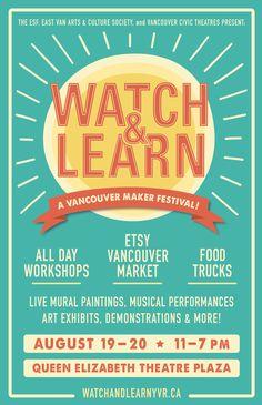 Poster Design for the Eastside Flea/Etsy Market Summer event promoting creative workshops! B