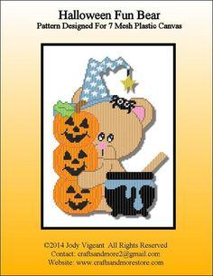 Halloween Fun Bear Pg 1/2 Plastic Canvas Books, Plastic Canvas Crafts, Plastic Canvas Patterns, Halloween Canvas, Halloween Crafts, Halloween Stuff, Happy Halloween, Fall Patterns, Halloween Patterns