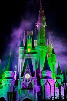 Cinderella's Castle at Halloween. All holidays are better at Disney!