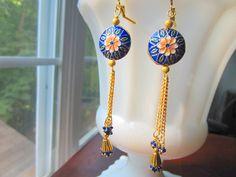 Exotic Cloisonne Earrings Cobalt Blue Floral by MinouBazaar, $26.00