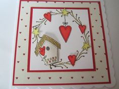 Card using rubber stamps from Inky Doodles and coloured in with copic pens. Valentine Cards, Valentines, Copic Pens, Birdcages, Digi Stamps, Birdhouses, Handmade Cards, Stamping, Card Ideas