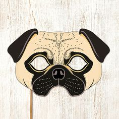 Pug Dog Mask Printable Fawn Carlin Mops Dutch Bulldog Mastiff Puppy Animal Childrens Halloween Masks Party PDF Costume Birthday Adults Kids