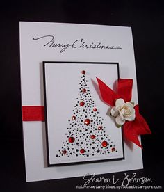 cards made with inkadinkado stamps | The Christmas tree stamp is Starlit by Penny Black – $10.95