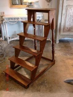 19th c. Library Steps in Elm.   Peg and Dowel construction. LizSpradlingAntiques.com