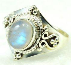 Amazon.com: RAINBOW MOON STONE RING 925 SILVER JEWELRY HANDMADE RING SIZE 10.25 AR1982: Jewelry