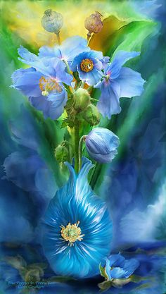 Blue Poppies in Poppy Vase by Carol Cavalaris