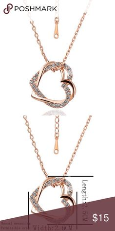 Double gold heart pendant  necklace. 18k filled. Beautiful double heart one heart encrusted in rhinestones pendant. 18k gold filled. Jewelry Necklaces