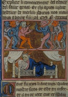 """La conception de Merlin"", Robert de Boron, L'Estoire de Merlin, Northern France, ca. 1280-1290."