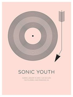 Sonic Youth concert poster at the Fillmore, San Francisco- Jan 2010 hand made 2 color silkscreen print poster measures 18 inches x 24 inches signed and numbered edition artist: Jason Munn Jason Munn, Rock Posters, Band Posters, Gig Poster, Poster Prints, Graphic Design Typography, Graphic Design Illustration, Music Illustration, Festival Posters