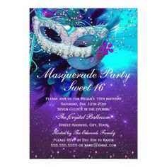 masquerade sweet 16 purple teal blue mask invitation alyssa s