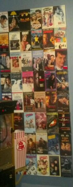 What to do with old VHS tapes...make a wall montage of all your favorites. Great for a basement or theater room!