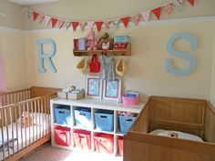 shared nursery and toddler room idea Baby And Toddler Shared Room, Boy And Girl Shared Room, Boy Girl Room, Toddler Bed, Shared Baby Rooms, Small Shared Bedroom, Shared Bedrooms, Nursery Twins, Nursery Room
