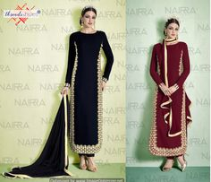 Pure Georgette Black & Wine Top with a Polka Dotted Back, Shantoon Bottom and a Pure Chiffon Dupatta.
