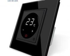 Dotykový digitálny termostat s možnosťou ovládania elektrických vykurovacích okruhov v čiernej farbe Nest Thermostat, Smart Home, Retro, Luxury, Smart House, Retro Illustration