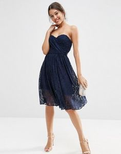 ASOS Lace Bandeau Midi Dress