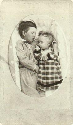 ca. 1864, [post mortem portrait of two children], Squyer Studio    via Looking at Death, Barbara Norfleet