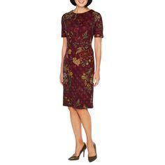 Liz Claiborne Elbow Sleeve Floral Sheath Dress
