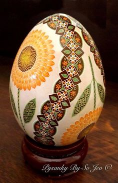 Peach Sunflowers Turkey Egg Pysanka Batik Easter Egg by So Jeo