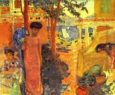 Woman with a Parrot.   Pierre Bonnard