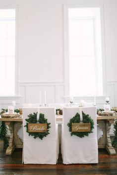 Greenery Wreath Chair Decor | photography by http://jacquelynnphoto.com/