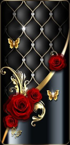 By Artist Unknown. Gothic Wallpaper, Bling Wallpaper, Rose Gold Wallpaper, Flower Phone Wallpaper, Luxury Wallpaper, Butterfly Wallpaper, Cellphone Wallpaper, Colorful Wallpaper, Wallpaper Backgrounds