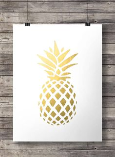 Gold pineapple print - tropical pineapple Gold Pineapple Print Faux Gold Foil…