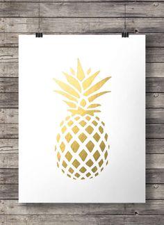 Drucken - Gold Ananas tropischen Ananas Luxe gold Wandkunst Drucken sofortige DOWNLOAD Gold Ananas Drucken Faux Blattgold Drucken minimalistische